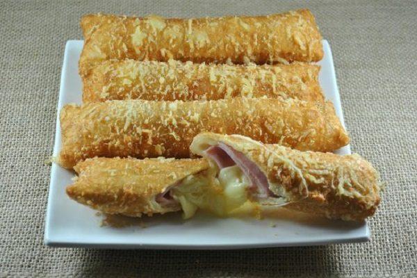 Cigarretes de Presunto e queijo (Receita fácil e deliciosa)