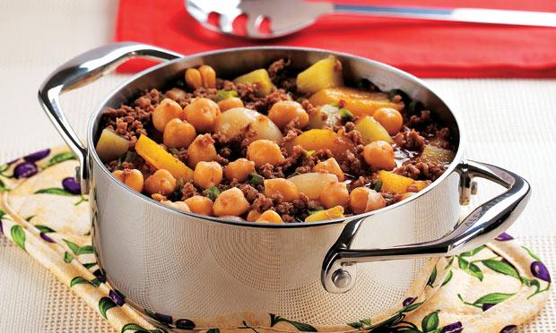 Carne Moída com Grão-de-Bico, Chuchu e Mandioquinha (Receita maravilhosa)