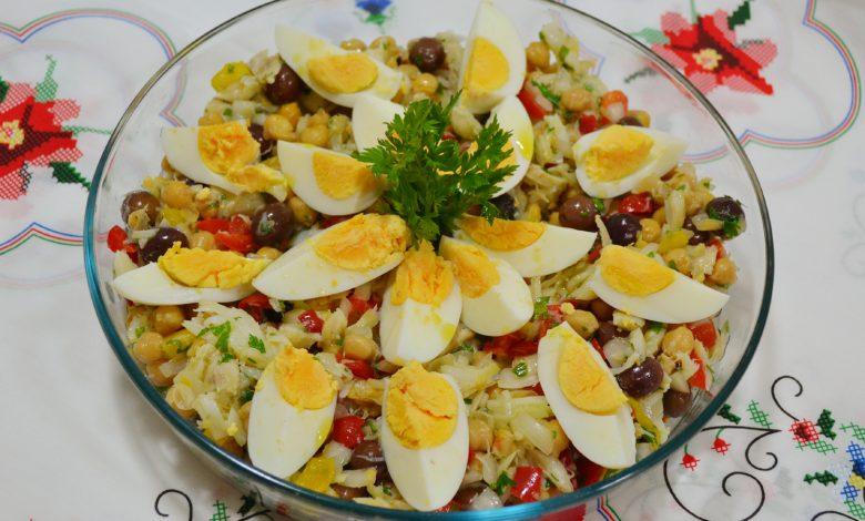 Salada de Grão de bico com bacalhau (Receita maravilhosa)